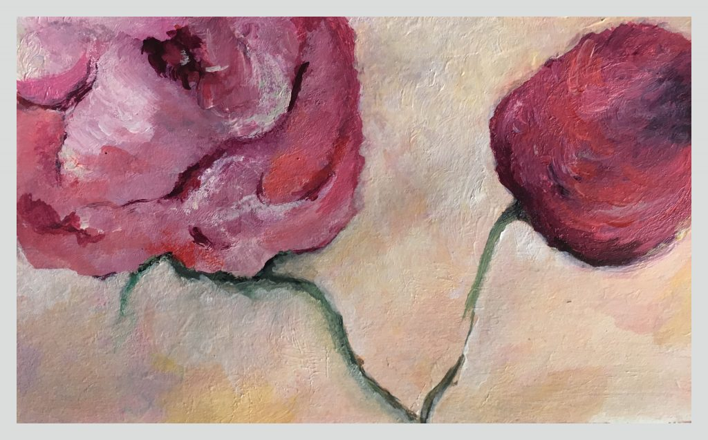 Two budding red flowers on creme setting Acrylic on paper