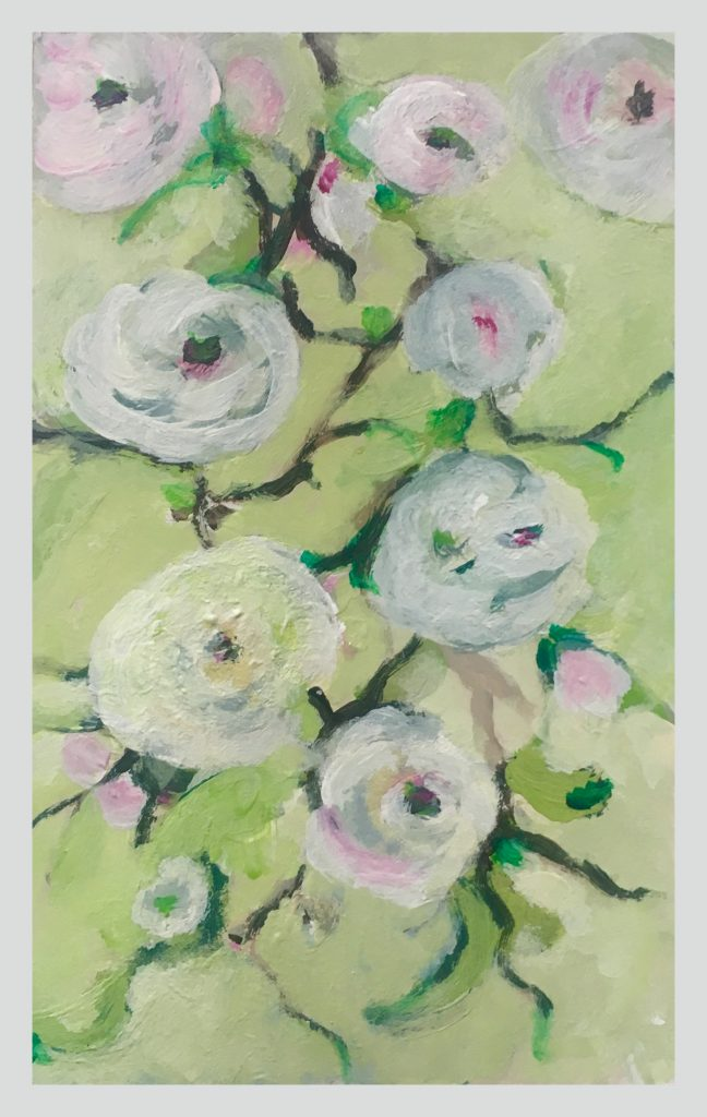 flowers painted on green background