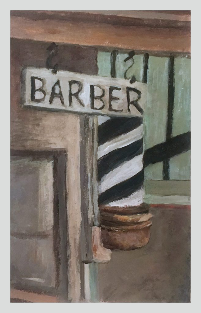 Barber shop sign and pole painting on card