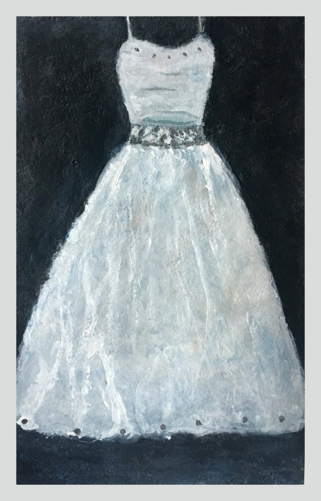 White gown on black backdrop