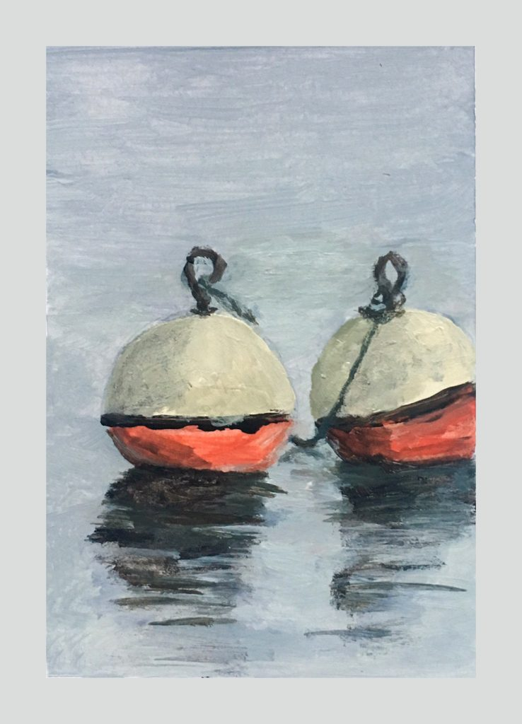 Two buoys in water
