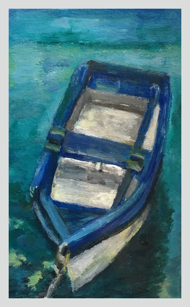 painting of blue boat in water tied up