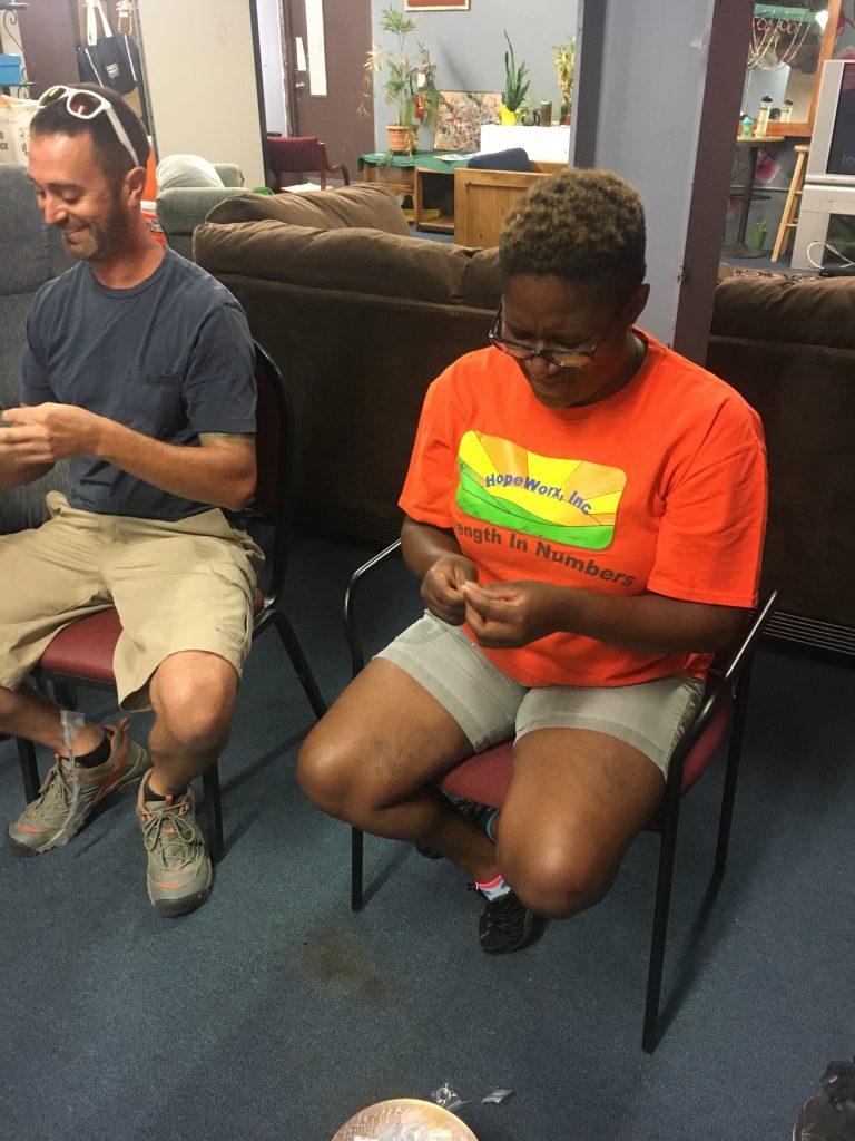 Ameika and Bob Stringing the lines